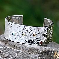 Blue topaz and garnet cuff bracelet,