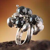 Hematite cluster ring, 'Raceme' - Sterling Silver Beaded Hematite Ring from Peru