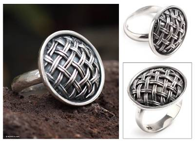 Sterling silver cocktail ring, 'Inca Weave' - Sterling silver cocktail ring