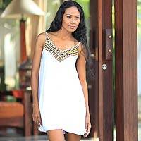 Beaded dress, 'Scintillating in White' - Beaded Dress from Indonesia