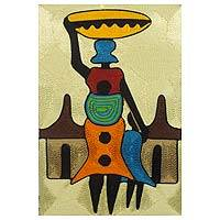 Threadwork art, 'Village Scene' - Handcrafted African Threadwork Wall Art of Village Scene