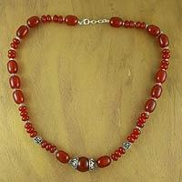 Carnelian strand necklace,