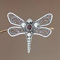 Garnet brooch pin, 'Scarlet Dragonfly' - Indonesian Garnet and Silver Brooch Pin
