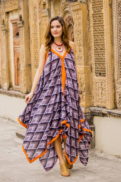 Cotton maxi dress, 'Magical Bliss' - Grey Black and Orange Print Cotton Maxi Dress