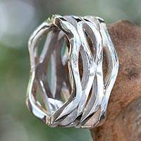 Sterling silver band ring, 'Ocean Waves' - Wavy Sterling Silver Band Ring