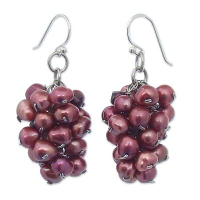 Cultured pearl cluster earrings, 'Roses at Twilight' - Rose Cultured Pearl Cluster Earrings