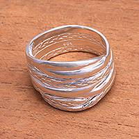 Sterling silver band ring, 'Tegenungan River' - Artisan Crafted Sterling Silver Band Ring from Bali