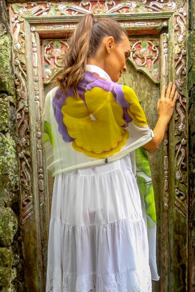 Silk shawl, 'Orchid Sensation' - Hand-Painted Orchid-Themed Silk Shawl from Bali