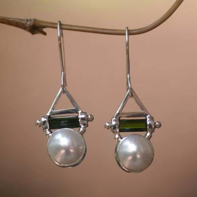 Cultured pearl and tourmaline dangle earrings, 'Life's Joy' - Cultured pearl and tourmaline dangle earrings