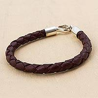 Men's leather bracelet, 'Earth Elements' - Leather with Fine Silver Braided Men's Bracelet