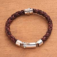 Leather and sterling silver braided bracelet, 'Bonding Weave' - Leather and Sterling Silver Braided Bracelet from Bali