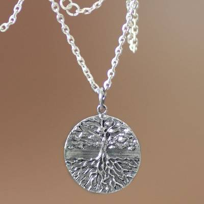Men's sterling silver necklace, 'Inspiration Tree' - Men's Handmade Sterling Silver Necklace