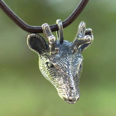 Sterling silver pendant necklace, 'Sacred Deer' - Sterling Silver Deer Head Pendant Necklace