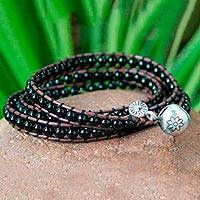 Leather and onyx wrap bracelet, 'Nouveau Tribal' - 23.5 inch - Leather and Onyx Wrap Bracelet