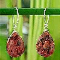 Jasper flower earrings, 'Thai Blush' - Sterling Silver and Jasper Dangle Earrings