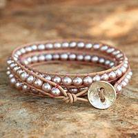 Leather and cultured pearl wrap bracelet, 'Pink Tulip' - Pearl and Leather Wrap Bracelet