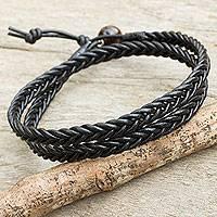 Men's tiger's eye and leather wrap bracelet, 'Double Ebony' - Mens Hand Braided Black Leather Wrap Bracelet