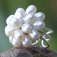 Cultured pearl cocktail ring, 'White Mum' - Handcrafted Floral Cultured Pearl Ring