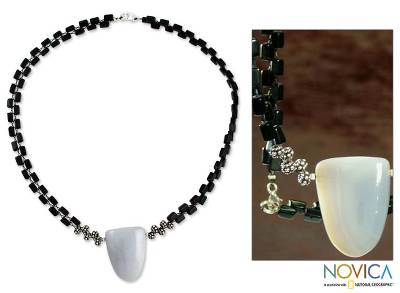 Onyx and agate pendant necklace, 'Black and White' - Onyx and Agate Pendant Necklace