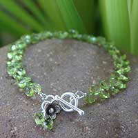 Peridot flower bracelet, 'Spring Rose' - Beaded Peridot Bracelet with Flower Charm