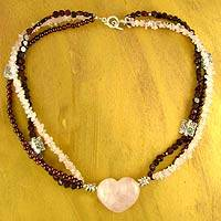 Rose quartz and garnet heart necklace, 'All Love' - Rose Quartz and Garnet Heart Necklace