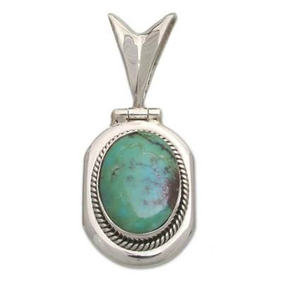 Sterling silver pendant, 'Turquoise Intrigue' - Sterling Silver Pendant with Reconstituted Turquoise