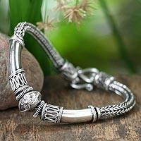 Sterling silver braided bracelet, 'Thai Legend' - Handcrafted Sterling Silver Chain Bracelet
