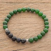 Men's jade and agate beaded stretch bracelet, 'Awake' - Men's Jade and Agate Beaded Stretch Bracelet from Costa Rica