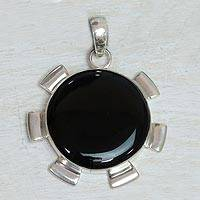 Onyx pendant, 'Satellite' - Onyx and Sterling Silver Pendant