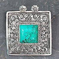 Turquoise pendant, 'Mughal Sky' - Turquoise and Sterling Silver Pendant