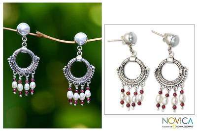 Pearl and garnet chandelier earrings, 'Harmony' - Sterling Silver and Pearl Chandelier Earrings