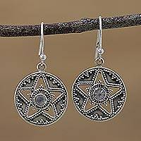 Rainbow moonstone dangle earrings, 'Starry Discs' - Star-Shaped Rainbow Moonstone Dangle Earrings from India