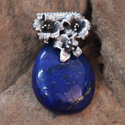 Lapis lazuli pendant, 'Lovely Lily' - Floral Sterling Silver and Lapis Lazuli Pendant