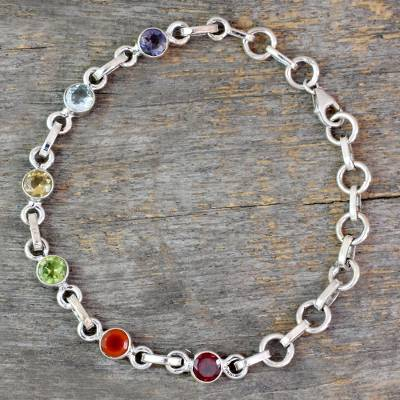 Multi-gemstone link bracelet, 'Cheerful Rainbow' - Sterling Silver Multi Gemstone Link Bracelet