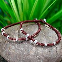 Silver braided bracelets, 'Tribal Trends in Wine' (pair) - Handcrafted Silver Braided Bracelets (Pair)