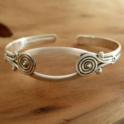 Sterling silver cuff bracelet, Simple Attraction