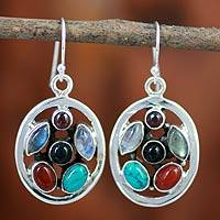 Garnet and moonstone dangle earrings, 'Bouquet' - Multigem and Silver Dangle Earrings