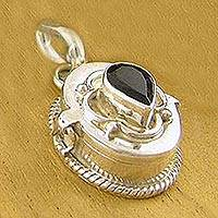 Iolite locket pendant, 'Cherished Secrets' - Iolite Locket Pendant from India