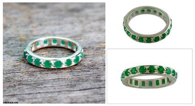 Emerald band ring, 'Infinite Love' - Artisan Crafted Sterling Silver and Emerald Ring