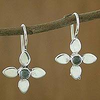 Moonstone drop earrings, 'Rainbow Petals' - Moonstone Drop Earrings