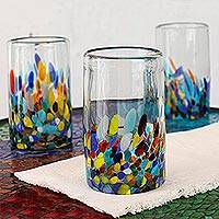 Blown glass tumblers, 'Confetti Festival' (set of 5) - Handblown Recycled Glass Tumbler Drinkware (Set of 5)
