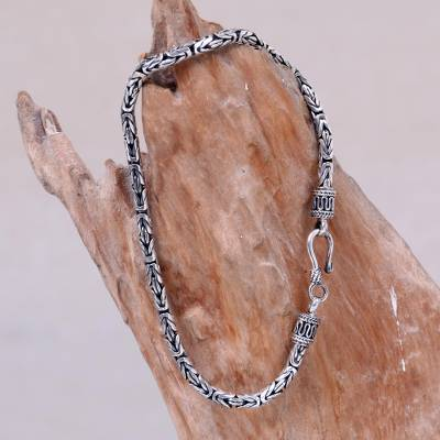 Men's sterling silver chain bracelet, 'Borobudur Collection I' - Artisan Crafted Men's Sterling Silver Chain Bracelet