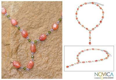 Carnelian Y necklace, Orange Marmalade