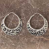 Sterling silver hoop earrings, 'Moon over Taxco' - Hammered Sterling Silver Hoop Earrings Taxco Jewelry