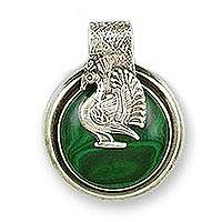 Malachite pendant, 'Proud Peacock' - Artisan Crafted Malachite Pendant from India