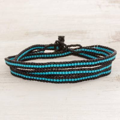 Beaded wrap bracelet, 'Sky Stripes' - Fair Trade Blue and Black Striped Beaded Wrap Bracelet