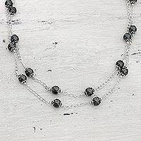 Hematite long chain necklace, 'Relating' - Sterling Silver and Hematite Necklace Artisan Jewelry