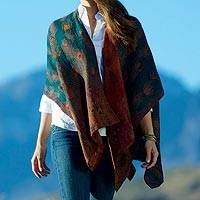 Wool shawl, 'Peacock Pride' - Reversible Indian Wool Peacock Wrap