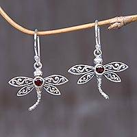 Garnet dangle earrings, 'Enchanted Dragonfly' - Handcrafted Indonesian Silver and Garnet Earrings