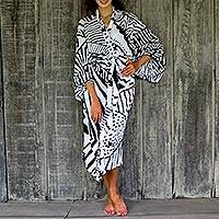 Rayon robe, 'White Night II' - Women's Black and White Print Rayon Wrap Robe